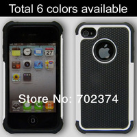 Case for iphone 4 4S ARMOR Hybird hard back cover PC + silicone material, 10pcs free shipping