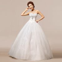2014 Wholesale Price Tube Top Lace Crystal Diamond Puff White Wedding Dress Formal Romantic Fashion Bridal Gown Drop Shipping