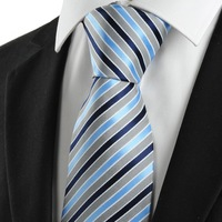 Cheap Fashion Mens Silk Neckties Blue Grey Silk Classic Jacquard Woven Man's Ties for Business