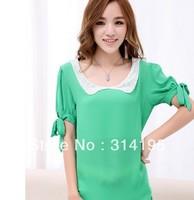 4 Color S,M,L,XL Drop Shipping spring 2014 fashion blouse chiffon shirt women loose princess puff sleeve peter pan collar