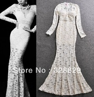 2014 Spring Newest  Women Sexy V-neck Sequins Beaded Lace Flower Long Sleeve Mermaid Evening Dress Fashion Party Dress Beige