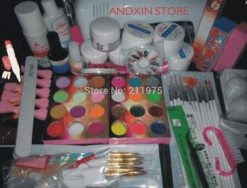 free shipping Full Set Acrylic Powder UV Gel kit Brush Pen UV Lamp Nail Art DIY Manicure kit  M6