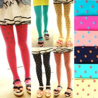 2014 NEW spring autumn baby girls' pantyhose Dot pantyhose velvet tights candy color long tights girls' pants outfits LG-036