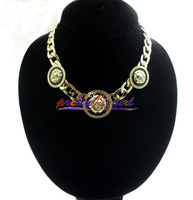 Free Shipping  New Hot Steampunk Gold Figaro Chain With 3 Lion Head Necklace 2013 For Women/Men ,JP062104