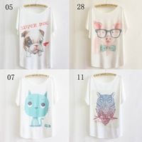[AMY]newest style thin plus size loose batwing sleeve women's short sleeve t-shirt print tees womens t shirt 29 models free