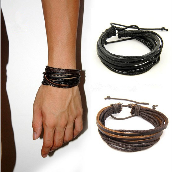 2pcs Men's Fashion Jewelry Wrap multilayer Genuine Leather Braided Rope Wristband bijouterie Cuff Man Love bracelets & bangles(China (Mainland))