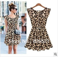 Retail And WholesaleNew 2014 Women One Piece Dress Leopard Print Casual Microfiber Sundress Big size M L XL