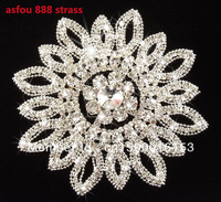 free shipping 11.5cm round shiny Asfou 888 clear rhinestone applique big flower shape DIY wedding dress mink coat costume sewing