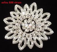 free shipping 11.5cm round stunning clear rhinestone applique big flower shape DIY wedding dress hat sandal bag costume sewing