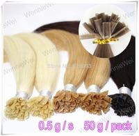 Wennie's 0.5g/s 100s Capsule Pre Bonded Nail U-tip Human Hair Keratin Extension 18'' -24'' Straight Brown Blonde Brown