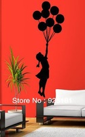 Free Shipping BANKSY BALLOON GIRL Wall Stickers Decal Home Decoration Wall Mural Removable Bedroom Sticker (83x 28cm)