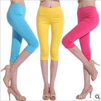 Plus Size Summer Short Leggings For Women Cropped Pants Cotton Made Ladies Skinny Cropped to the Calf Legging