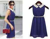 2013 New Women's peter pan collar sleeveless tank chiffon one-piece dress elegant dress women Presented a belt Free Shipping