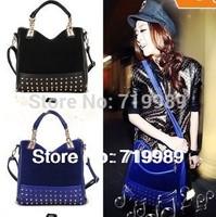2014 Fashion Bag Rivet Package Stitching Flannel Messenger Bag Designers Shoulder Bag Brand Clutch Leather Handbag Drop Shop