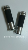 """MOTORCYCLE ALUMINUM 7/8"""" HANDLE BAR RUBBER GEL HAND GRIPS UNIVERSAL FIT WITH SILVER DECRO END"""