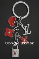 The classic double bear cute flower keychain letter handbag key chain Gift men women lovers valentine gift souvenir keychain