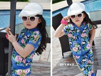 Free shipping! Korean children girls short sleeve zipper gold rimmed peony flowers sports suit jacket + pant