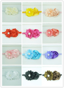 Baby Girls Headband Satin Ribbon Flower Skinny Elastic Headband For Girls Children hair accessories 40pcs/lot