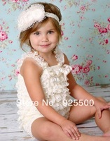 Free Shipping 6 pce Toddler Baby Girl Lace Posh Petti Ruffle Rompers Dress Newborn Infant Children One-Piece Tutu Lace Clothes