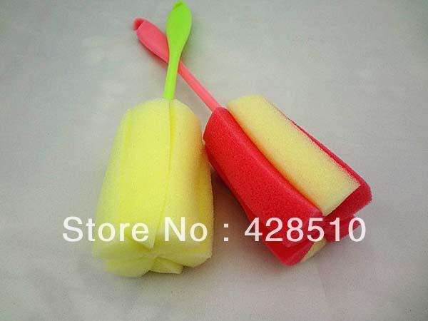 Newest Baby Feeding Sponge Baby Bottle Brushes 5pcs lot Mixed Color Free Shipping(China (Mainland))