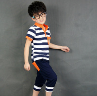 Children's clothing 2014 new summer new fashion kids sets boys navy striped t-shirt and pants suits Free shipping TZ019