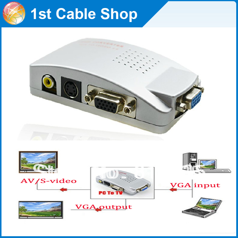 Free shipping&wholesale 4PCS/lot Universal PC VGA to TV composite RCA S-video Signal Converter Box for Laptop/ Desktop(China (Mainland))