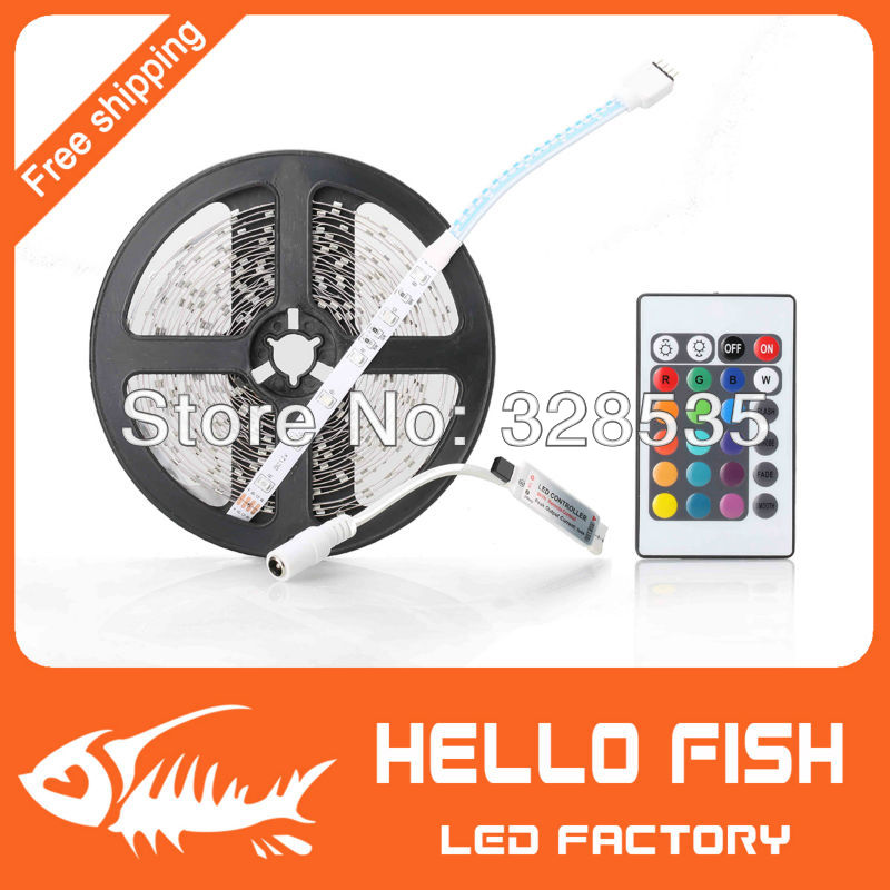 RGB 3528 SMD Flexible Not waterproof 300 LED Strip Light + 24 key IR Remote Control !! Free shipping!!!(China (Mainland))