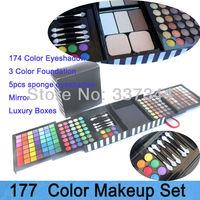 Fashion 177 Full Color Cosmetic Eyeshadow Make Up Kit Foundation Eye Shadow Brush Makeup Sets Free Shipping