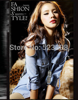 Women's Sexy Off Shoulder Stitching Denim Stripes Chiffon Shirt Top Blouse 12743
