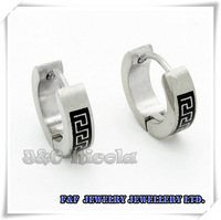 One pair 316L Men's Women's Black Tone Silver Stainless Steel Stud Earrings, Free shipping,E#38