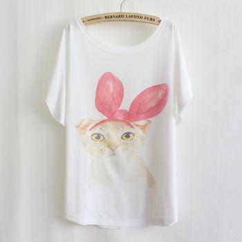2013 new free shipping fashion women short sleeve t shirt plus size red bow pet cat kitty t-shirt/tee   C41