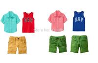 summer style short sleeve cotton boys Clothes sets  children suit  kids sets child shorts boys kids vest child sets kids suit