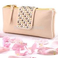Hot Selling Women's Simple PU Leather Handbag Fashion Designer Rivet  Purse Women Evening Bag Wallet Clutch Bag Free Shipping
