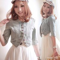 New Fashion Women Round Neck Short Denim Jean Jacket Coat Half Sleeve Button S M L # L0341176
