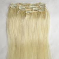 "15"" 18"" 20"" 22"" Human Hair Extensions 613# bleach blonde 100% remy clip in human hair extensions"