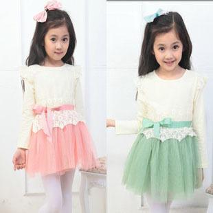 Free shipping New arrival Fashion Kids Lace Butterfly Tulle TUTU Dress Girls Long Sleeve Princess Dress