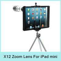 12X Zoom Optical Telescope Telephoto Lens Aluminum + Back Case Cover + Tripod + Holder For iPad Mini Drop Shipping