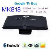 Factory price 20pcs/lots MK818 Android Mini PC TV Box RK3066 Dual Core 1.6GHz 1GB RAM 8GB ROM Build-in HD Webcam MIC Bluetooth