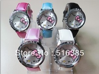 Wholesale 5pcs High Quality Hello Kitty Lady Students Girl Womens Woman Fashion Gift Quartz Wrist Watches, Free Shipping