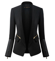women stylish and comfortable Leather sleeves zipper decoration jacket coat Slim small suit jacket