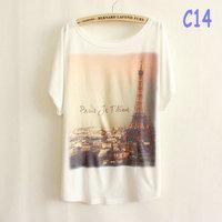 new arrival fashion style female ladies' t-shirt plus size summer Paris Je T'aime Eiffel tower t shirt free shipping  C14