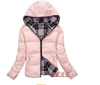 Free shipping 2013 short down jacket in winter sweet lady authentic hooded ultra-light dress coat on both sides