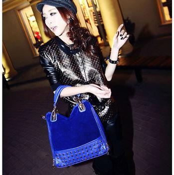 2014 maomao elegant rivets bag gossip women's handbag shoulder bag  blue women's  Bolsos de bandolera bolsas Handtaschen sacs