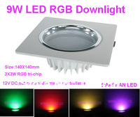 9W LED RGB downlight,Square Size,140*140mm,3X3W RGB tri-chip,12VDC,controllable,dimmable.