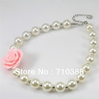 white pearl big beads& pink rose flower chunky bubblegum statement kids necklace