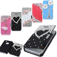 Luxury Bling 3D swarovski flip case diamond phone case PU skin Leather for iphone4 4G 4S Dropshipping wholesale lot
