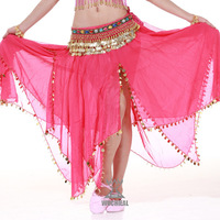 BELLYQUEEN~Belly Dance 2-Layer 2-Slit Shinning Sequins Skirt,Belly Dance Wear,Free Size,8Colors Available