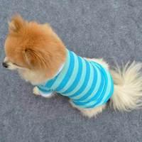 Cute Pet Puppy Dog Vest Stripe dog Clothes Pet T-Shirt clothing #9558