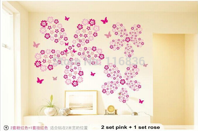 Free shipping 106 Flowers & 7 Butterfly DIY Removable Wall Sticker Decal home Bedroom Kids Children(China (Mainland))