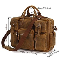 Rare Crazy Horse Leather Men's Briefcase Laptop Bag Men's Bag Fashion Travel Bag # 7028B